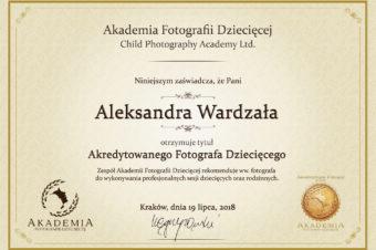 Jestem akredytowanym fotografem Akademii Fotografii Dziecięcej!